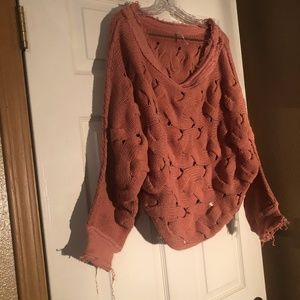 Free People Weave Pattern Unfinished Edge Sweater